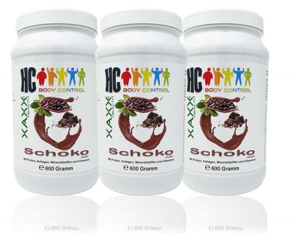 HC BODY CONTROL SHAKE SCHOKO 600g 20 Mahlzeiten 3er-Set